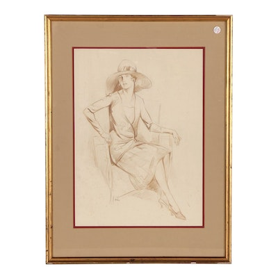 Alexander Levy Conté Crayon Figure Drawing of Seated Woman