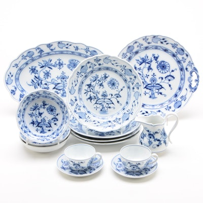 Carl Teichert Meissen Blue Onion Porcelain Dinnerware and Serveware