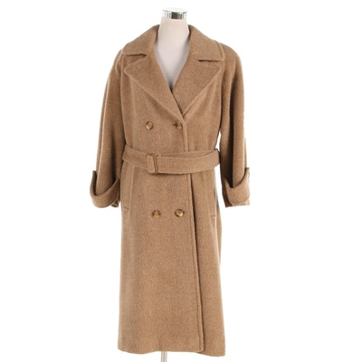 Paul Levy Designs Tan Wool Double-Breasted Coat with Belt