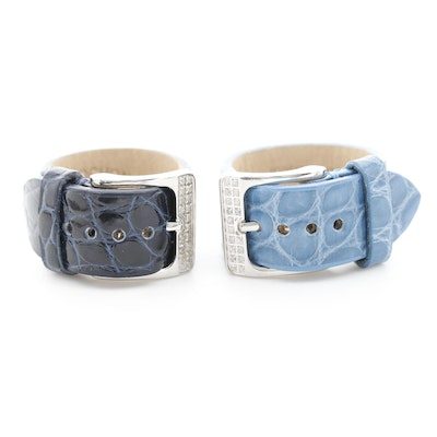Cabochon Leather and Diamond Adjustable Buckle Rings
