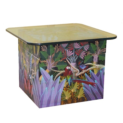 A.G. Calixtes Haitian Hand Painted Storage Box End Table