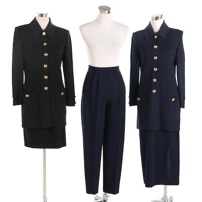 St. John Basics Navy and Black Knit Jackets, Skirt and Pants