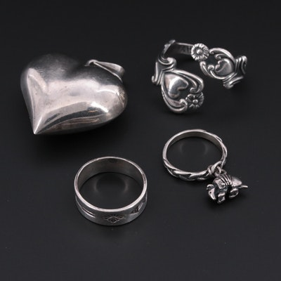 Sterling Silver Jewelry Featuring a Puffed Heart Pendant