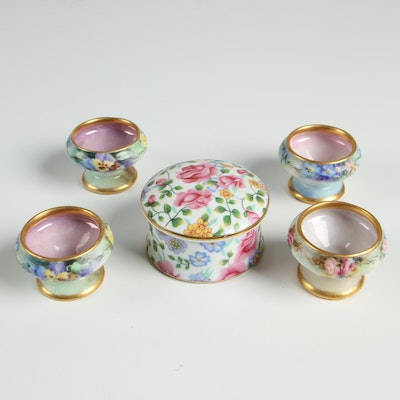 """Two's Company """"Michelle"""" Trinket Box with Hand Painted Porcelain Salt Cellars"""