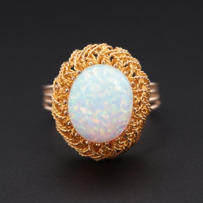 14K Yellow Gold Opal Ring in a Twisted Wire Work Setting