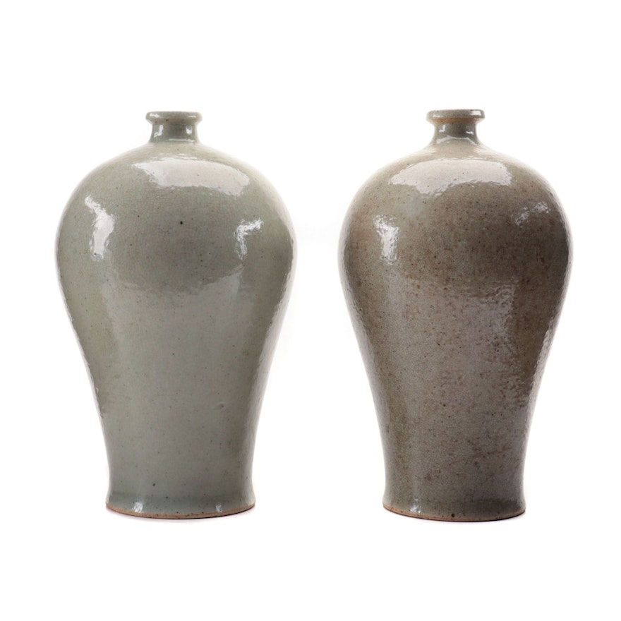 Chinese Stoneware Crackle Glazed Meiping Vases, Early-Mid 20th Century