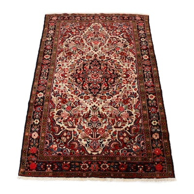 5'2 x 8'1 Hand-Knotted Persian Nahavand Vases of Flowers Rug, 1970s