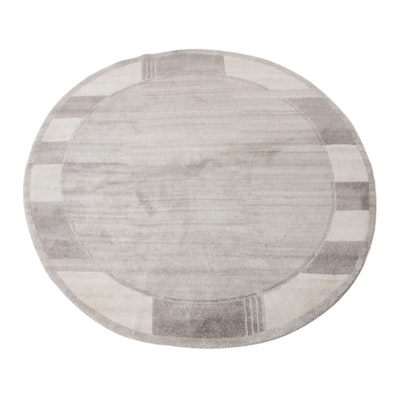 5'10 x 6'3  Hand-Knotted India Bamboo Silk Round Rug