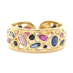 Vior 18K Yellow Gold Ruby and Sapphire Adjustable Ring