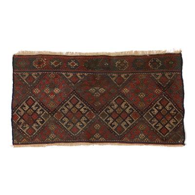 1'8 x 3'0 Hand-Woven Persian Shahsavand Kilim Soumak Rug, circa 1920