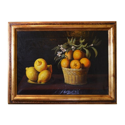"Oil Painting After Francisco de Zurbarán's ""Still Life Lemons, Oranges and Rose"""