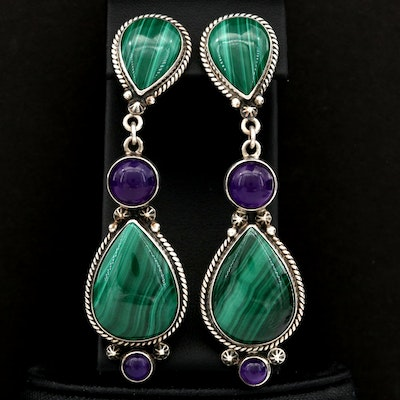 Reve Sterling Silver Malachite and Amethyst Drop Earrings