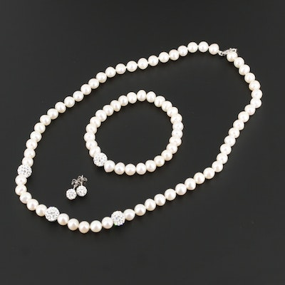 Sterling Cultured Pearl and Rhinestone Strand Necklace, Earrings and Bracelet