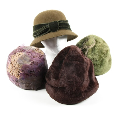 Sheared Beaver Fur and Feather Cloche Hats with Hat Box Travel Case, Vintage