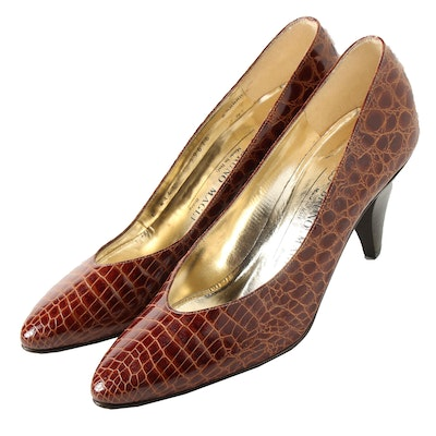 Bruno Magli Brown Crocodile Embossed Leather Pumps