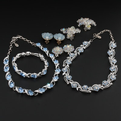 Vintage Rhinestone and Glass Jewelry Featuring Lisner Laguna