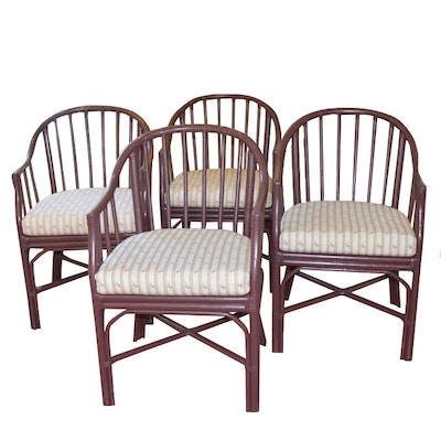 Painted Bamboo Chairs From Chester's Road House, Set of Four