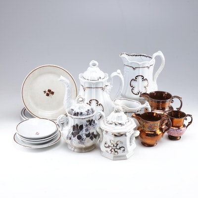 Alfred Meakin, Shaw and Other Tea Leaf Ironstone and Copper Luster Tableware
