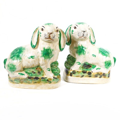 Reproduction Staffordshire Porcelain Rabbit Figurines, Late 20th Century