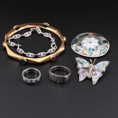 Vintage Mexican Abalone, Mother of Pearl, and Sapphire Jewelry Assortment