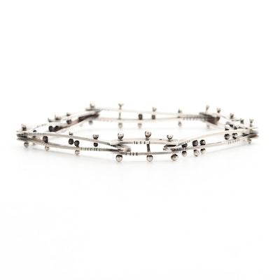 Brutalist Style Sterling Silver Hinged Bar Bracelet