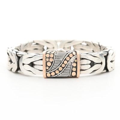 Sterling Silver Byzantine Link Bracelet With 14K Rose Gold Accent