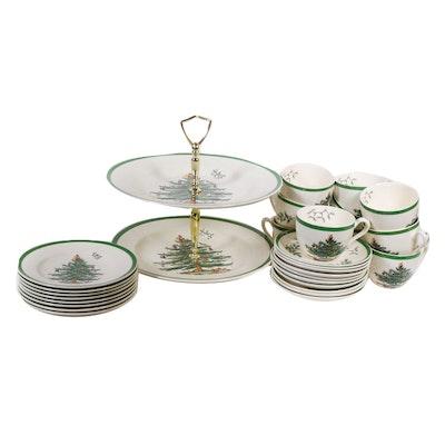 """Spode """"Christmas Tree"""" Porcelain Dessert Dinnerware, Late 20th Century"""