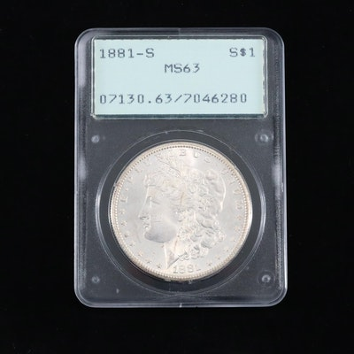 PCGS Graded MS63 1881-S Silver Morgan Dollar