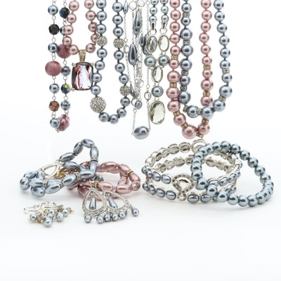 Rhinestone, Foilback Glass, and Glass Necklaces, Earrings and Bracelets