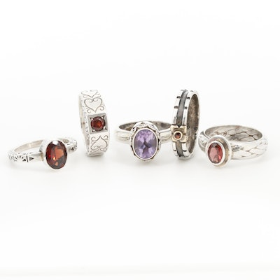 Sterling Silver Garnet and Amethyst Textured Rings