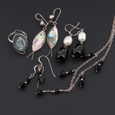 Sterling Silver Cultured Pearl, Black Onyx and Abalone Jewelry Assortment