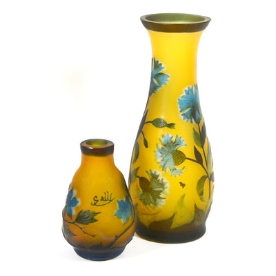 Reproduction Emile Gallé Cameo Glass Vases, Set of Two