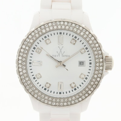 Toy Watch Plasteramic, Stainless Steel Quartz Wristwatch with Swavroski Crystals