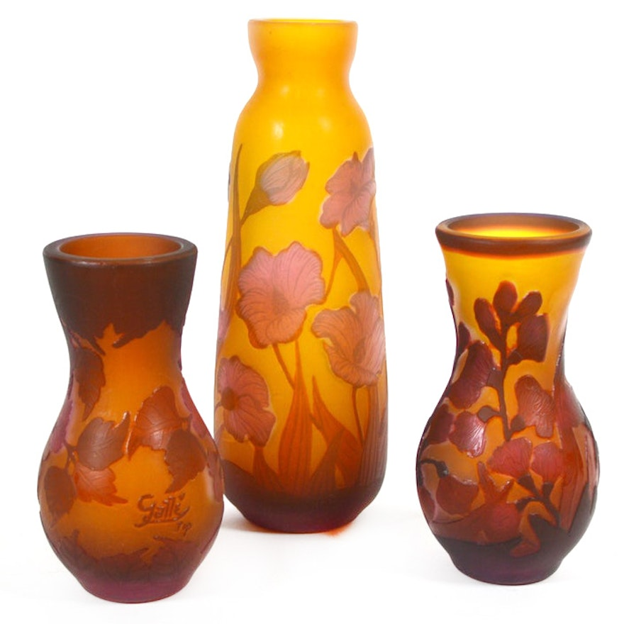 Reproduction Emile Gallé Cameo Glass Vases, Set of Three