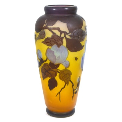 Reproduction Emile Gallé Cameo Glass Vase with Tree Blossoms
