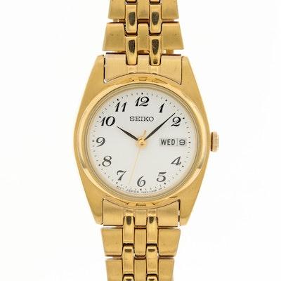 Seiko Gold Tone Quartz Wristwatch With Day - Date