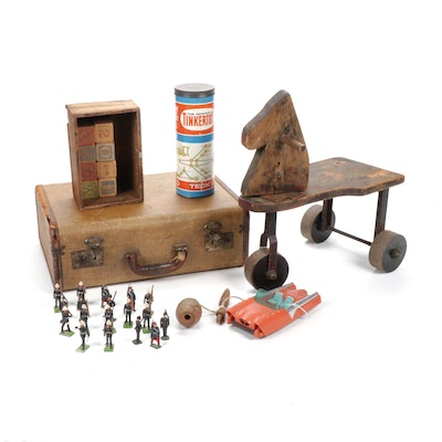 Wooden Horse Rider, Tinkertoy, Marbles and More, Early to Mid 20th Century