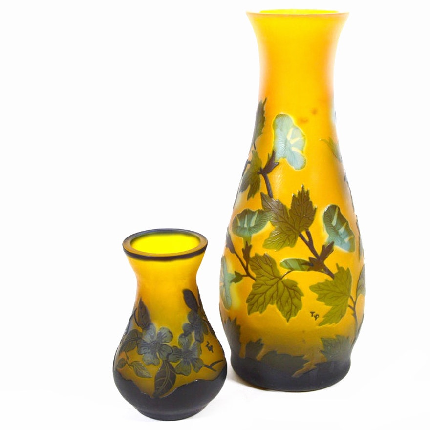 Reproduction Emile Gallé Cameo Glass Vases, Mid to Late 20th Century