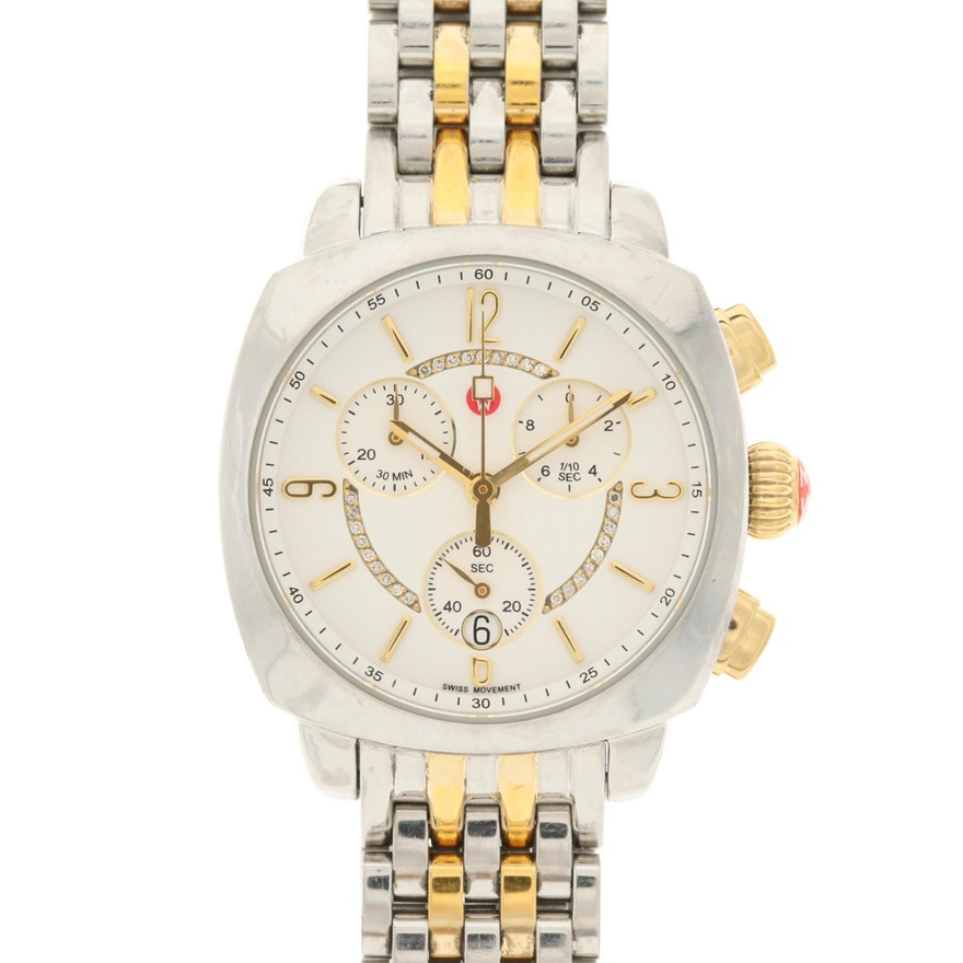 Michele Ascalon Stainless Steel and Diamond Chronograph Quartz Wristwatch