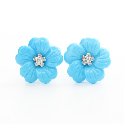14K White Gold Turquoise and Diamond Floral Earrings