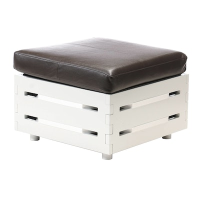 Bonded Leather Cushioned Storage Ottoman, Contemporary