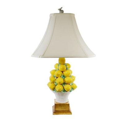 Ceramic Lemon Topiary Table Lamp, Late 20th Century