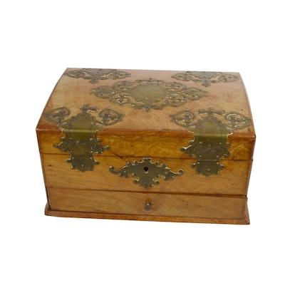 Victorian Brass-Mounted Elm Document Box, Late 19th Century