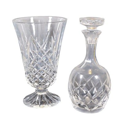 Crystal Vase and Decanter, Late 20th Century