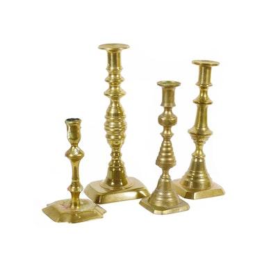 English Brass Beehive Candlesticks and Other Brass Candlesticks, Antique