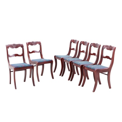Six Federal Style Cherry-Finish Wooden Upholstered Side Chairs, Mid-20th Century