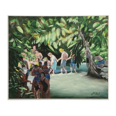 "J.C. Hall Acrylic Painting ""Jamaican Waders"""