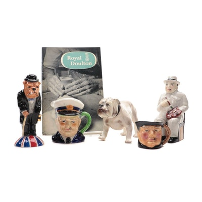 Porcelain Figurines Featuring Winston Churchill and Bulldog Characters, Vintage