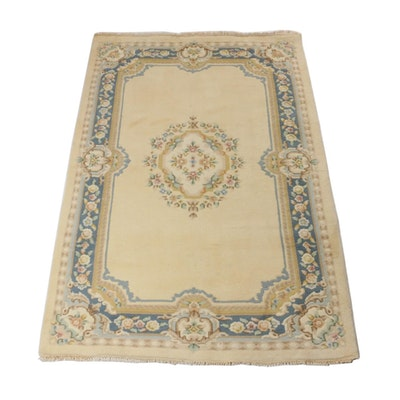 5'7 x 8'5 Hand-Knotted Indo French Aubusson Rug, circa 1990s