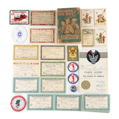 """Boy Scouts of America """"Handbook for Boys"""", Certificates, and Badges, 1930s"""